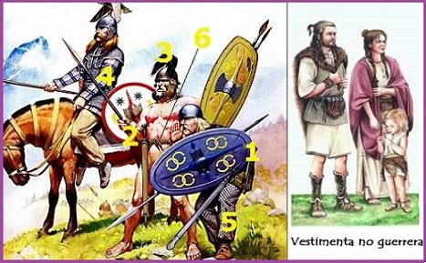 Vestimenta guerreros y vestimenta no guerrera celta