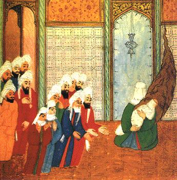 Miniatura árabe que representa a un Mahoma recién nacido en brazos de su madre. Este dibujo se encuentra en el Museo Topkapi de Estambul.