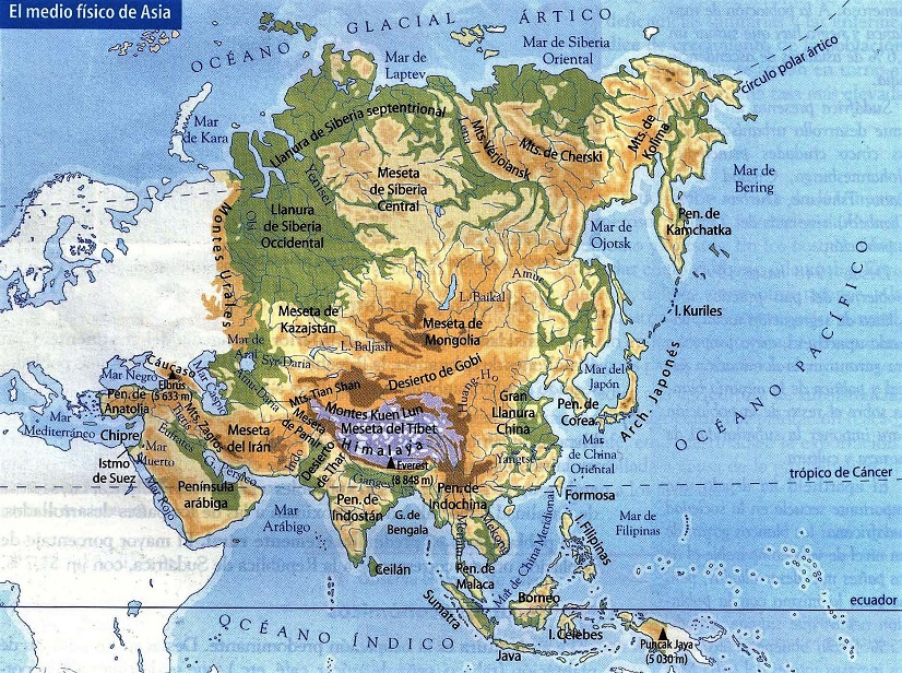 Mapa fsico de Asia  SocialHizo