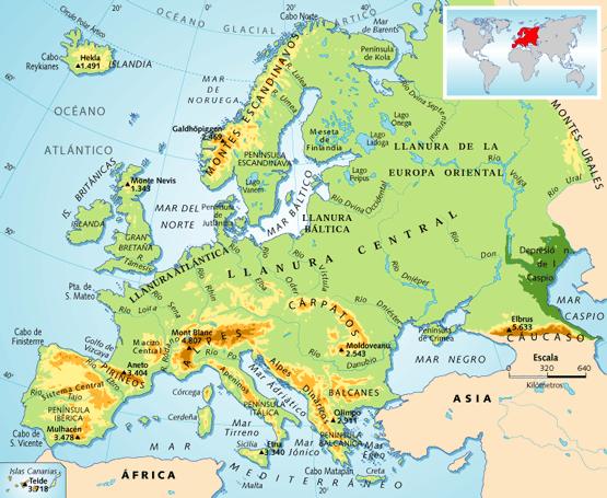 Mapa fsico de Europa  SocialHizo
