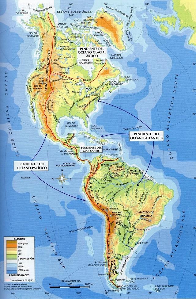 Mapa fsico de Amrica  SocialHizo