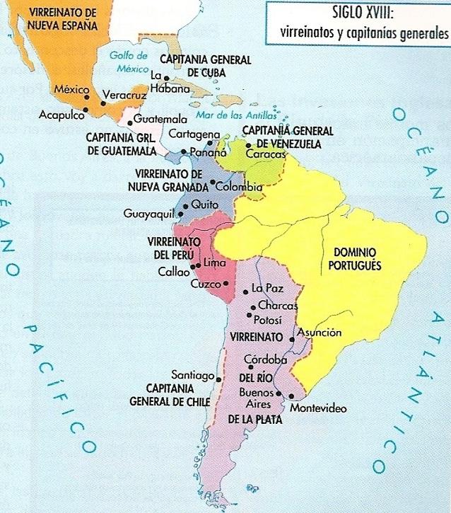 Mapa de Amrica Virreinatos y Capitanas Generales siglo XVIII
