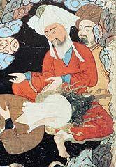 Mahoma y Abu Bakr, primer califa y padre de Ayesha, mujer del Profeta, en una cueva (miniatura turca).