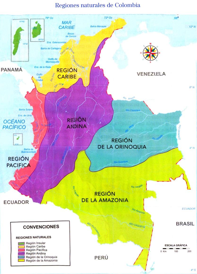 Mapa de Colombia Regiones Naturales SocialHizo