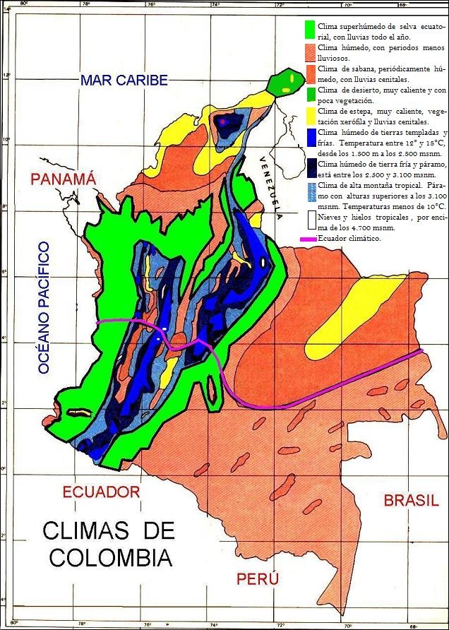Mapa de Colombia Distribucin climtica SocialHizo