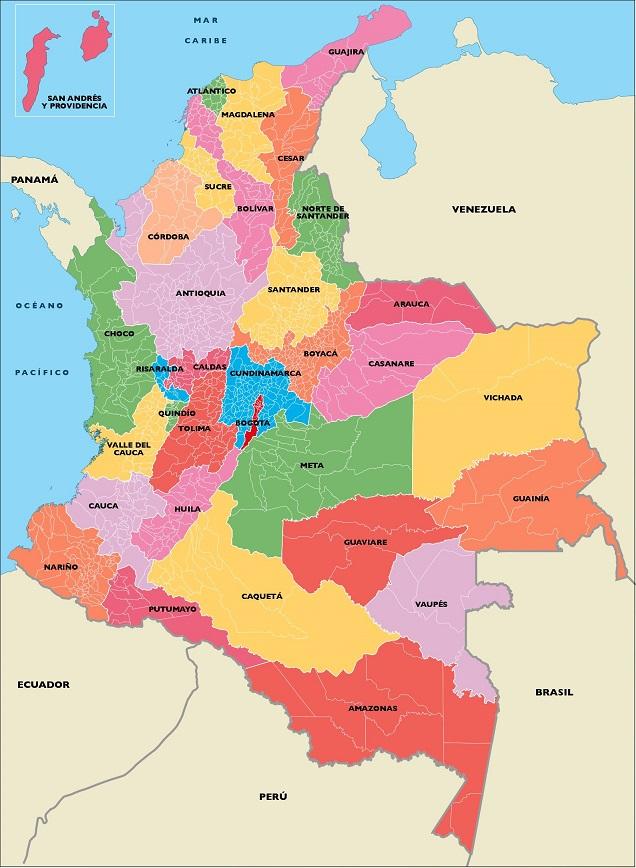 Mapa de Colombia Divisin poltica y administrativa SocialHizo