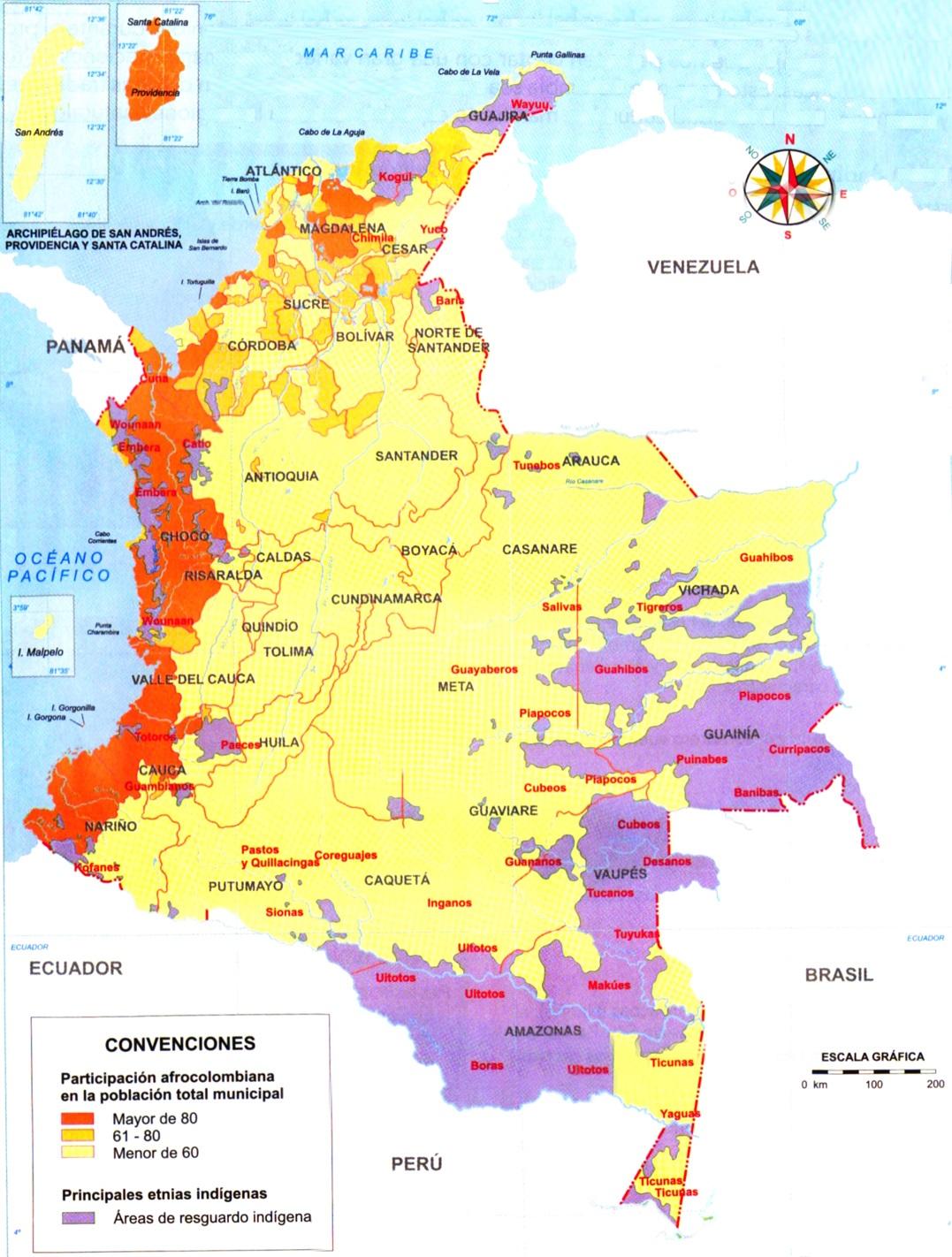 Mapa de Colombia: Comunidades indígenas y afrocolombianas | SocialHizo