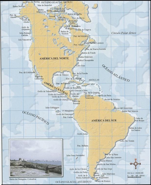 Mapa De América Accidentes Costeros Socialhizo